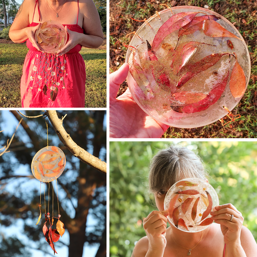 Brenda makes an epoxy sun catcher with fall leaves